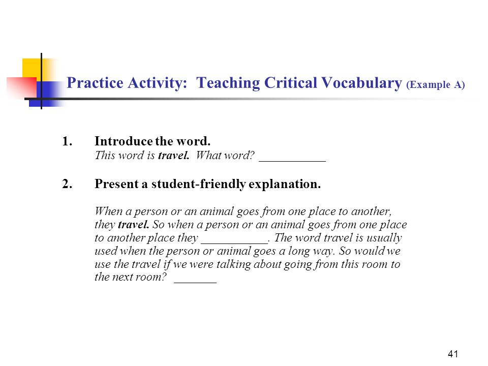 Practice Activity: Teaching Critical Vocabulary (Example A)