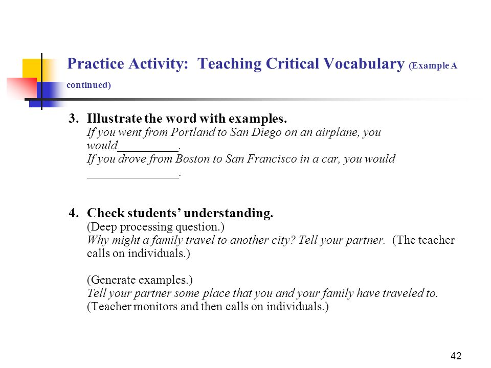 Practice Activity: Teaching Critical Vocabulary (Example A continued)
