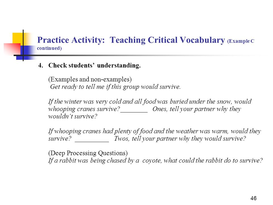 Practice Activity: Teaching Critical Vocabulary (Example C continued)