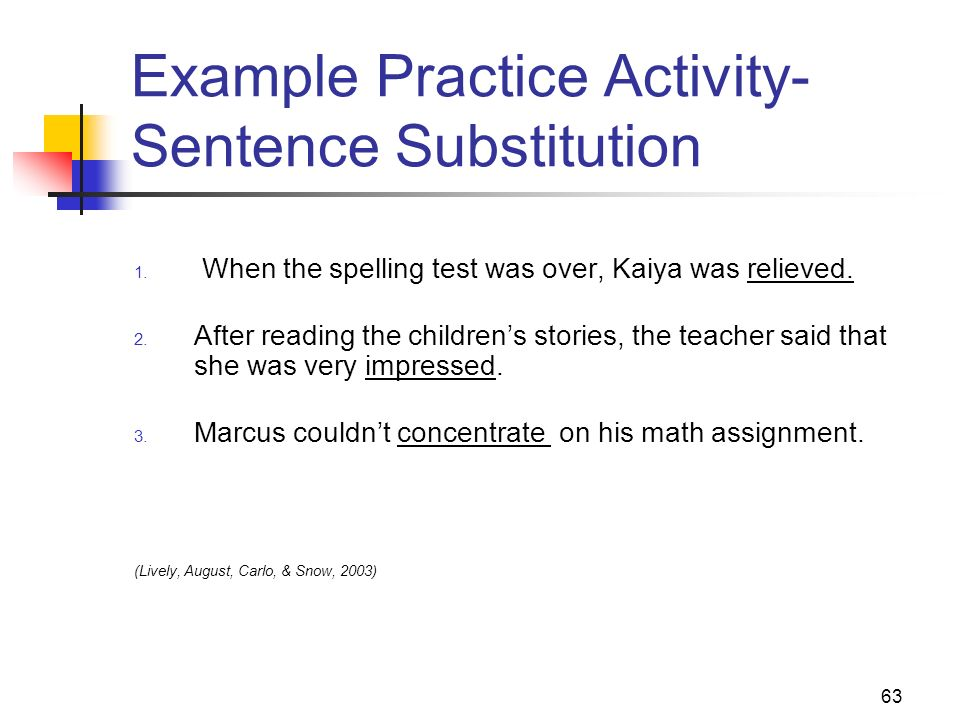 Example Practice Activity- Sentence Substitution