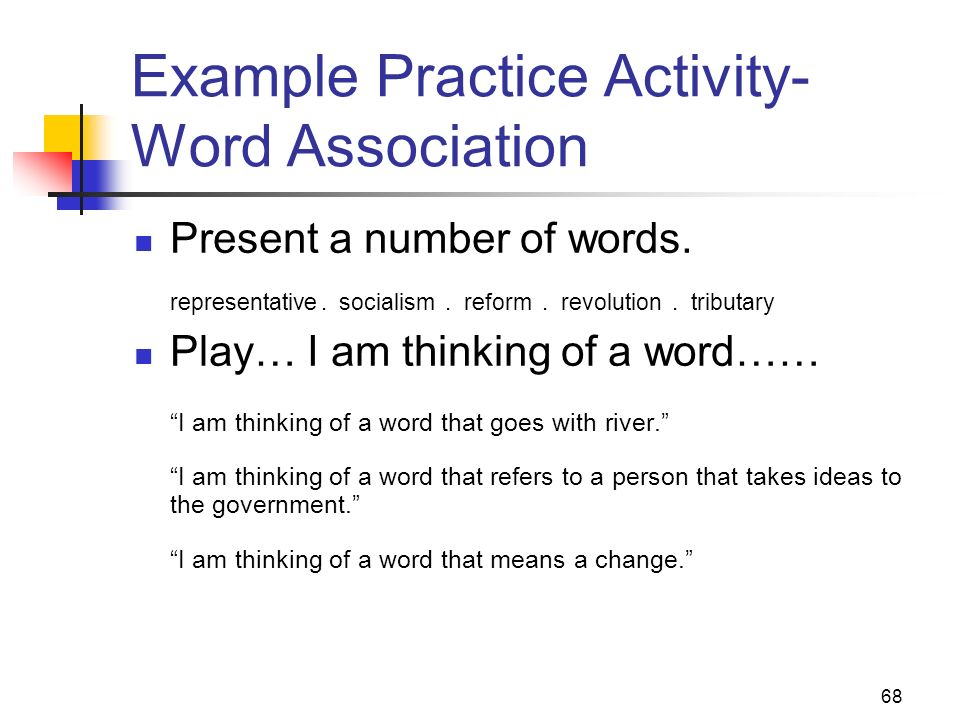 Example Practice Activity- Word Association