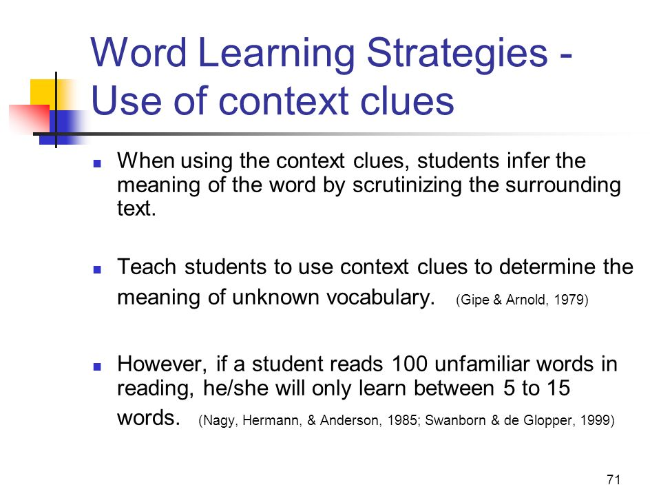 Word Learning Strategies - Use of context clues