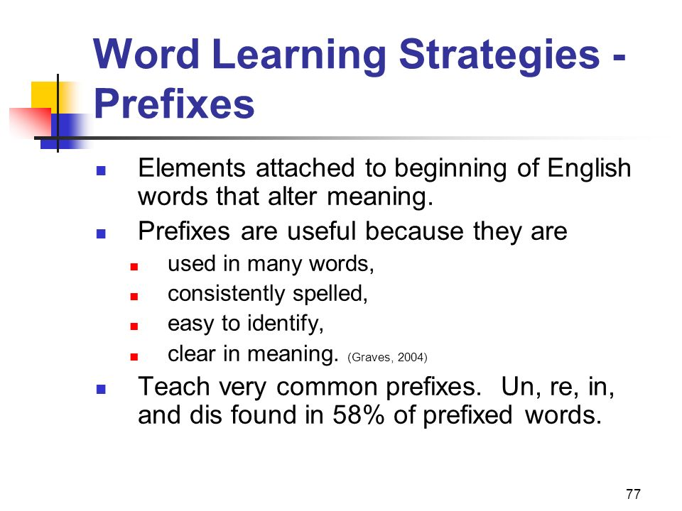 Word Learning Strategies - Prefixes