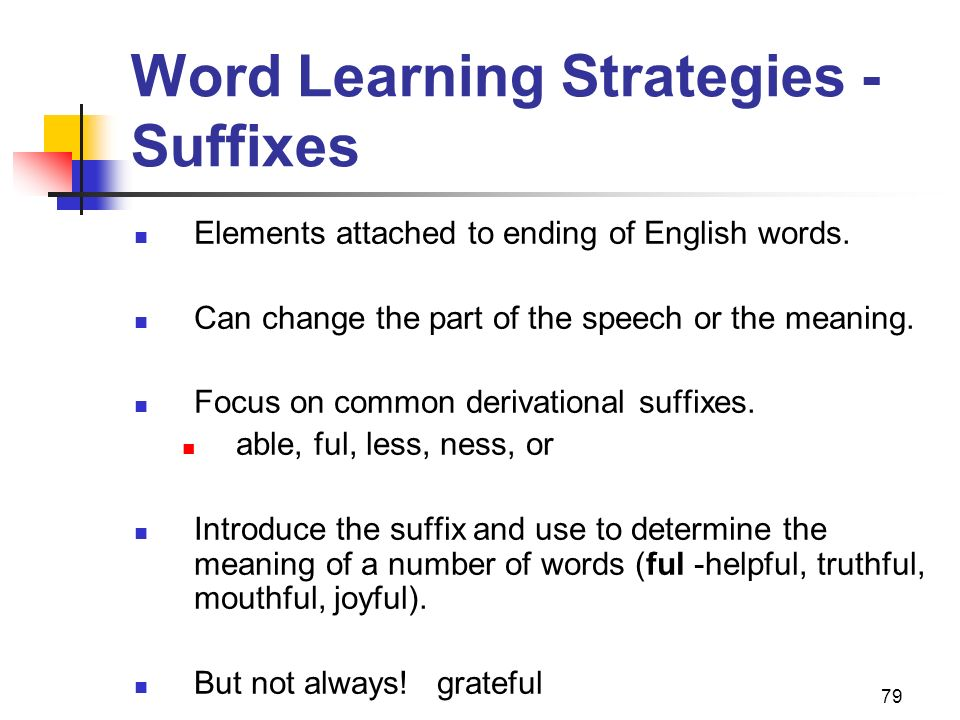 Word Learning Strategies - Suffixes