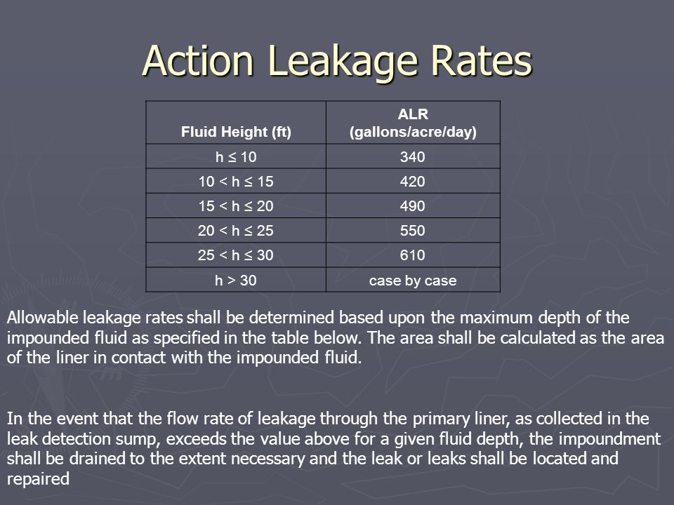 Action Leakage Rates Fluid Height (ft) ALR. (gallons/acre/day) h ≤ 10. 340. 10 < h ≤ 15. 420.
