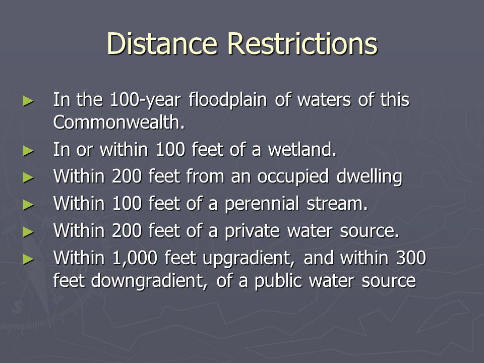 Distance Restrictions