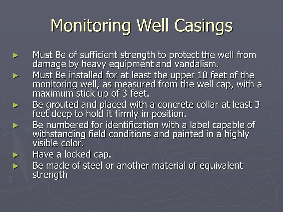 Monitoring Well Casings