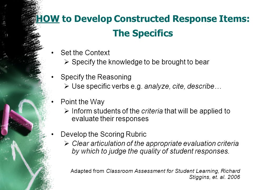 HOW to Develop Constructed Response Items: The Specifics