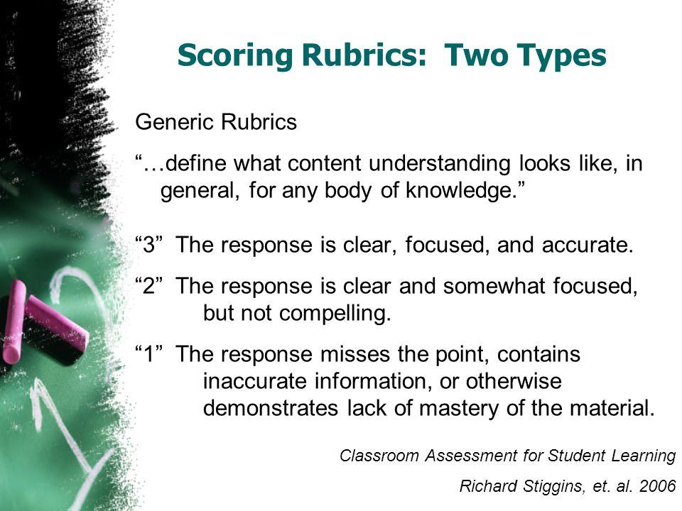 Scoring Rubrics: Two Types
