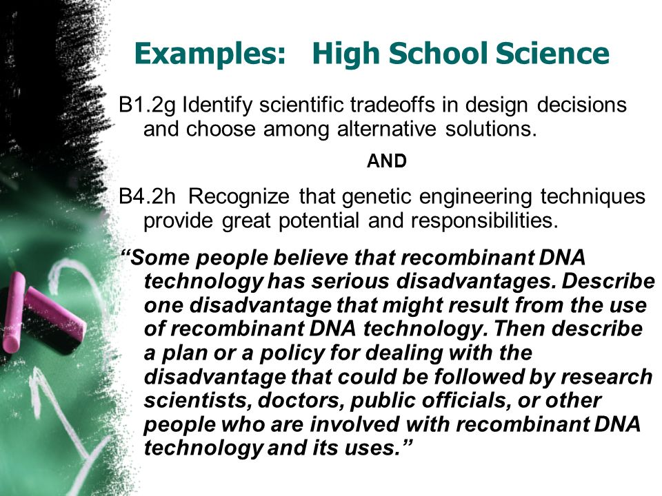 Examples: High School Science