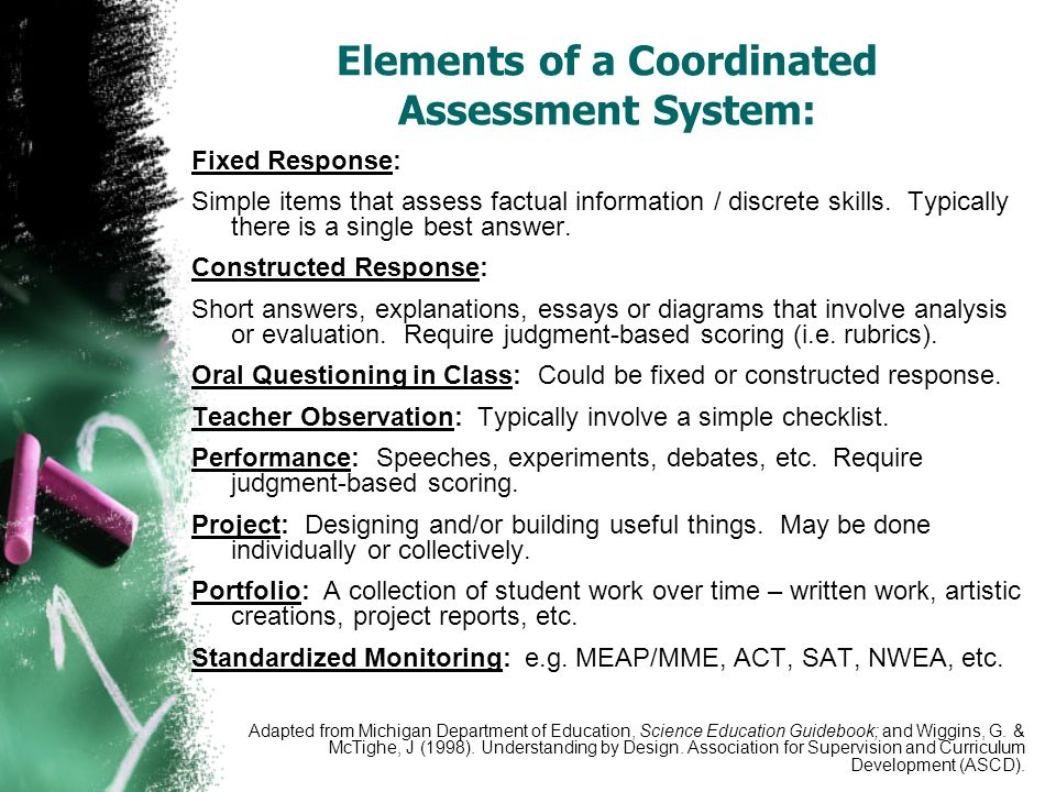 Elements of a Coordinated Assessment System: