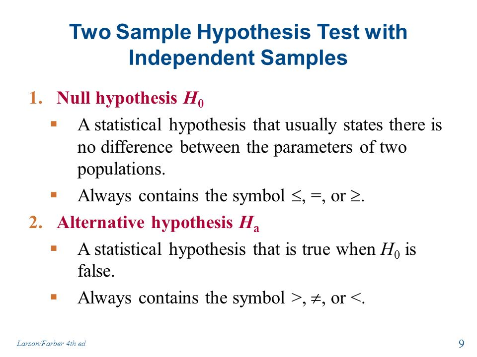 statistics sample test Both test statistics follow the standard normal distribution the population standard deviation is used if it is known, otherwise the sample standard deviation is used the same five-step procedure is used with either test statistic.