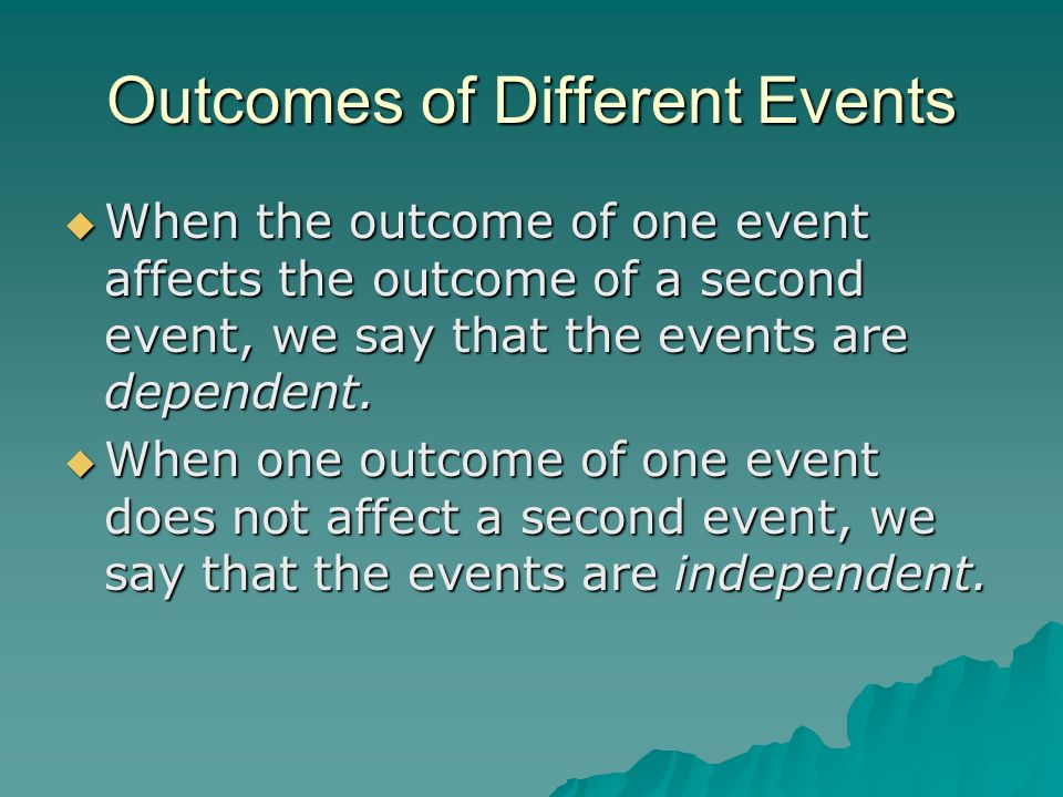 Outcomes of Different Events