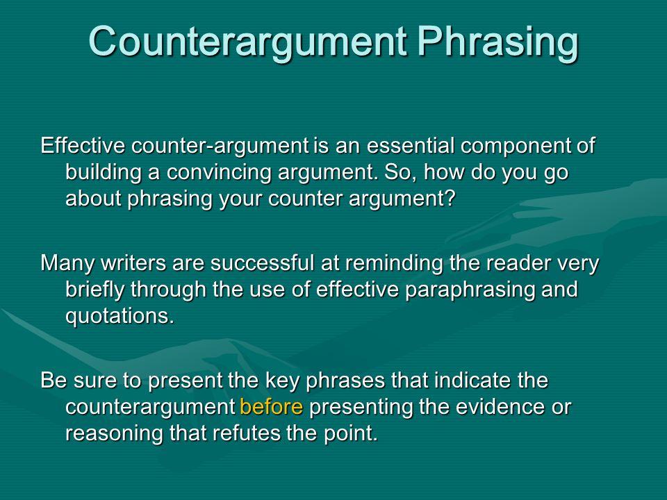 Counterargument Phrasing