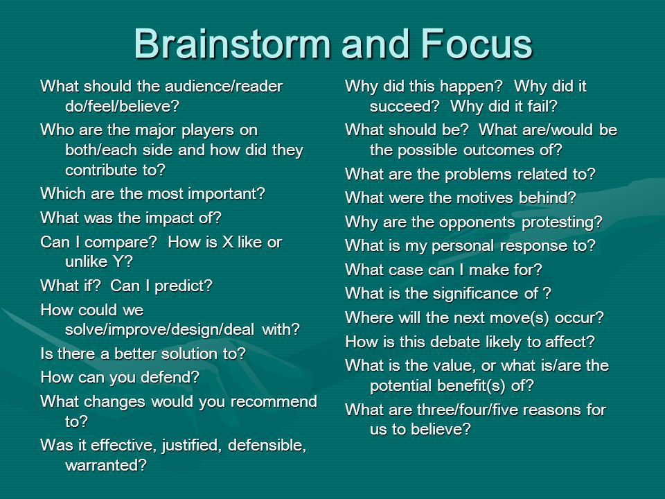 Brainstorm and Focus