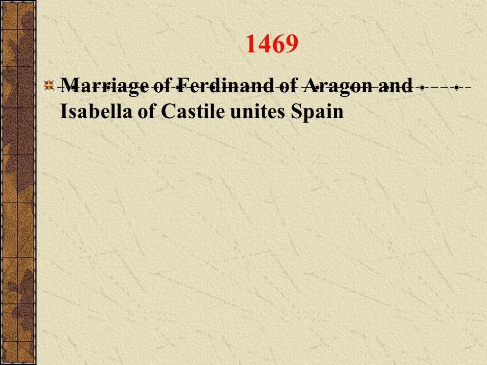 1469 Marriage of Ferdinand of Aragon and Isabella of Castile unites Spain