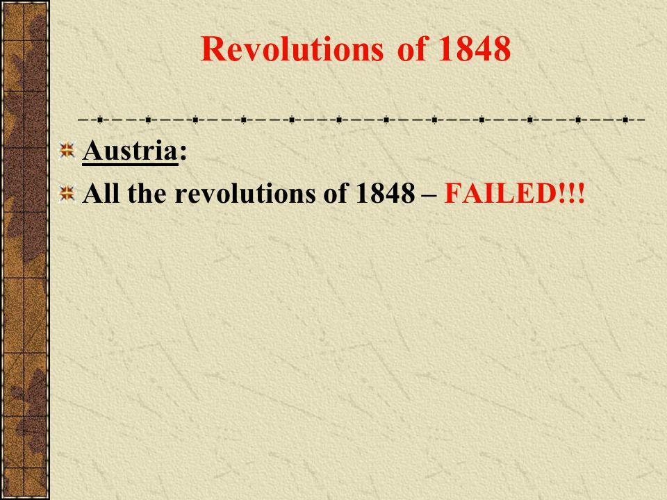 Revolutions of 1848 Austria: All the revolutions of 1848 – FAILED!!!