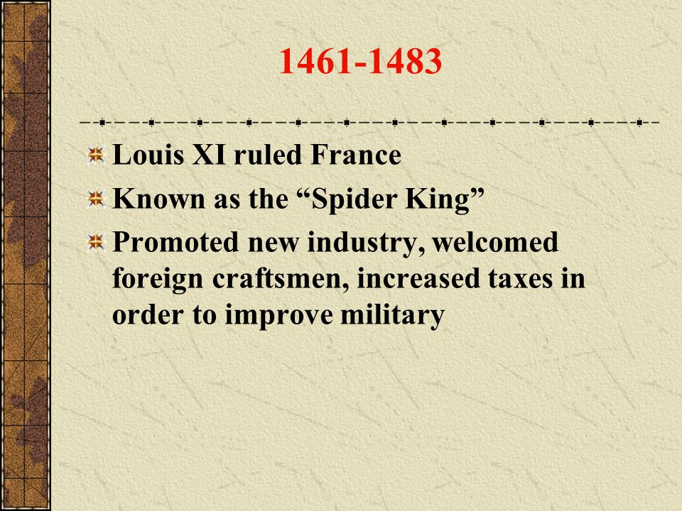 1461-1483 Louis XI ruled France Known as the Spider King