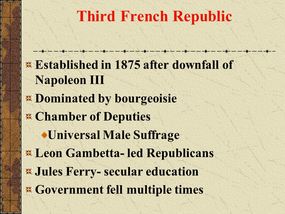 Third French Republic Established in 1875 after downfall of Napoleon III. Dominated by bourgeoisie.