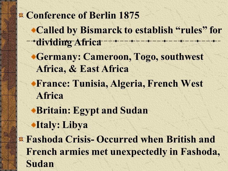 Conference of Berlin 1875 Called by Bismarck to establish rules for dividing Africa. Germany: Cameroon, Togo, southwest Africa, & East Africa.