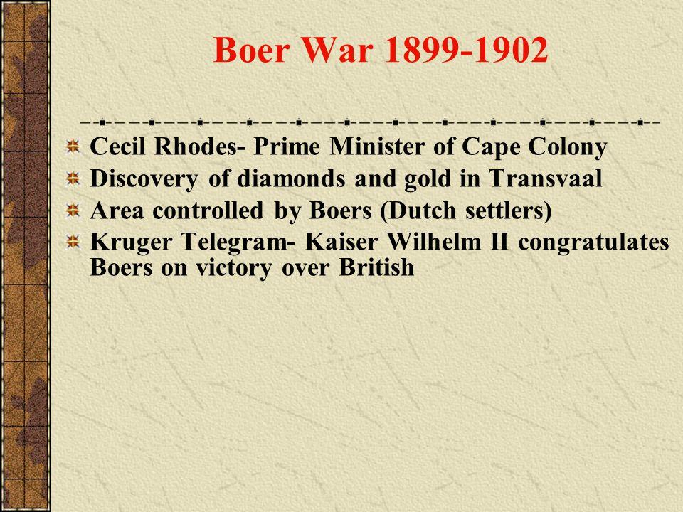 Boer War 1899-1902 Cecil Rhodes- Prime Minister of Cape Colony