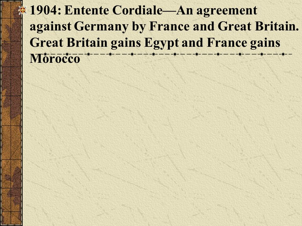 1904: Entente Cordiale—An agreement against Germany by France and Great Britain.