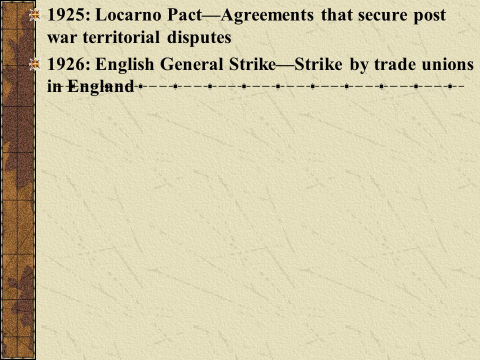 1925: Locarno Pact—Agreements that secure post war territorial disputes