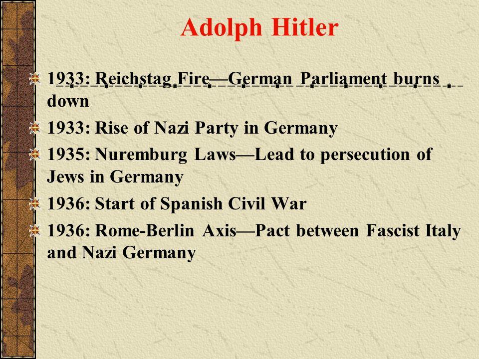 Adolph Hitler 1933: Reichstag Fire—German Parliament burns down