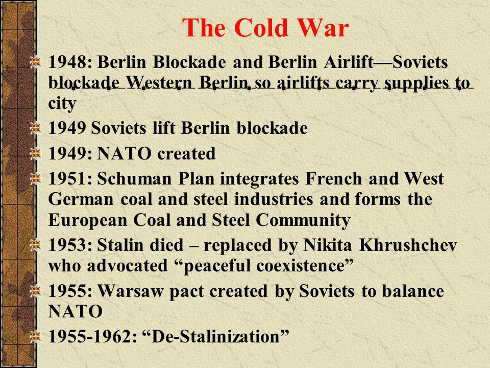 The Cold War 1948: Berlin Blockade and Berlin Airlift—Soviets blockade Western Berlin so airlifts carry supplies to city.