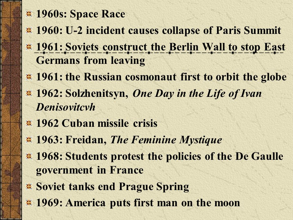 1960s: Space Race 1960: U-2 incident causes collapse of Paris Summit. 1961: Soviets construct the Berlin Wall to stop East Germans from leaving.