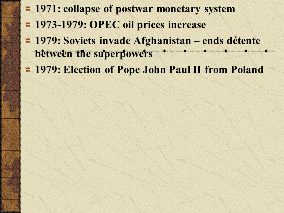 1971: collapse of postwar monetary system