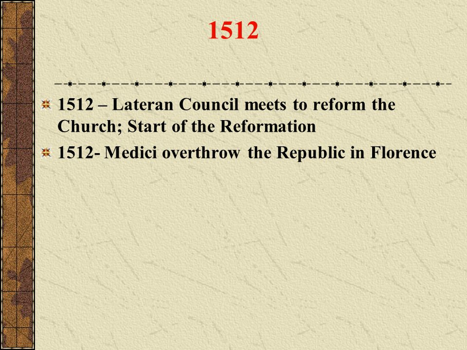 1512 1512 – Lateran Council meets to reform the Church; Start of the Reformation.