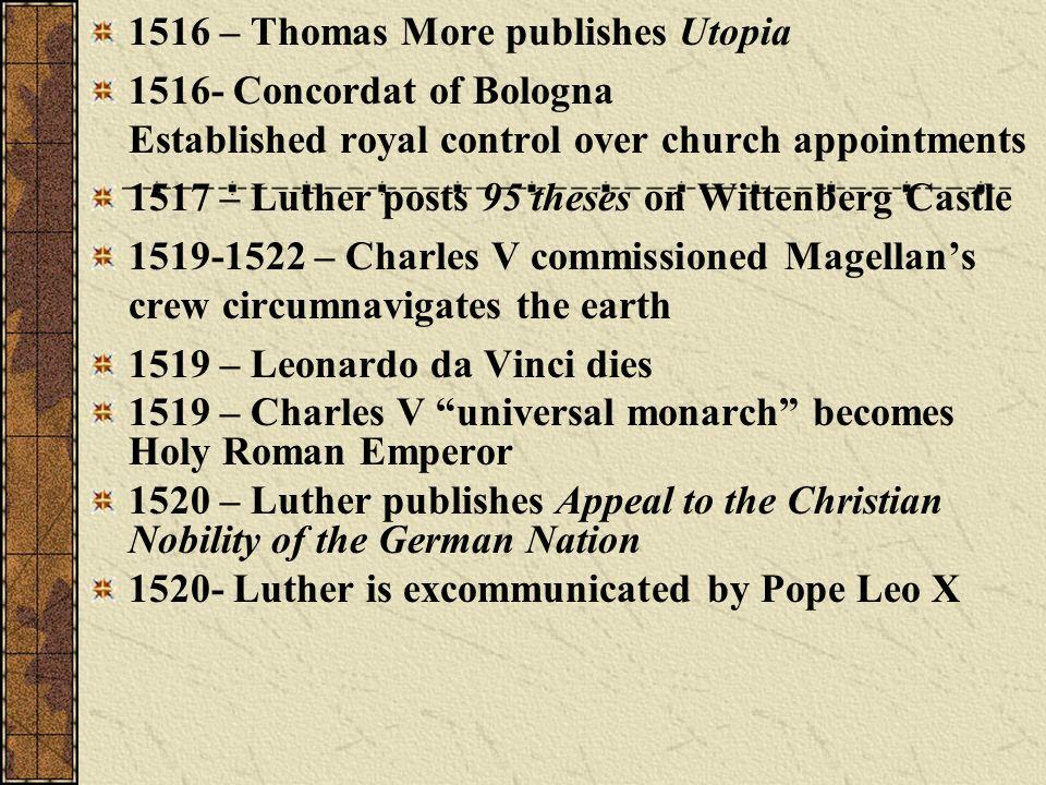 1516 – Thomas More publishes Utopia