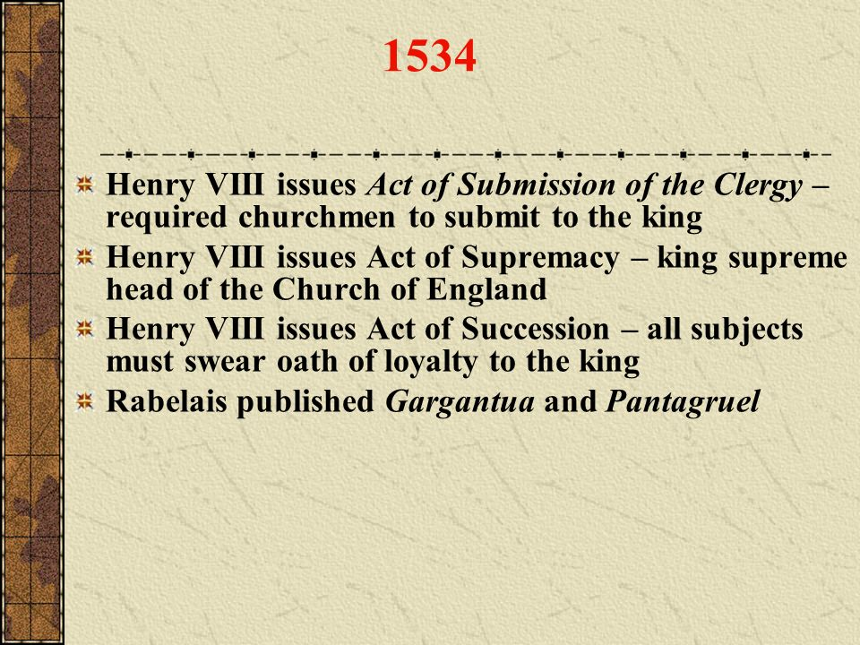 1534 Henry VIII issues Act of Submission of the Clergy – required churchmen to submit to the king.