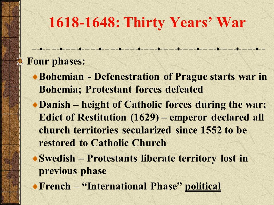 1618-1648: Thirty Years' War Four phases: