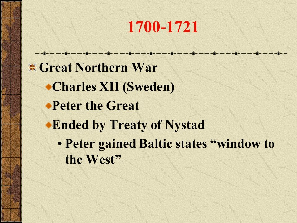 1700-1721 Great Northern War Charles XII (Sweden) Peter the Great