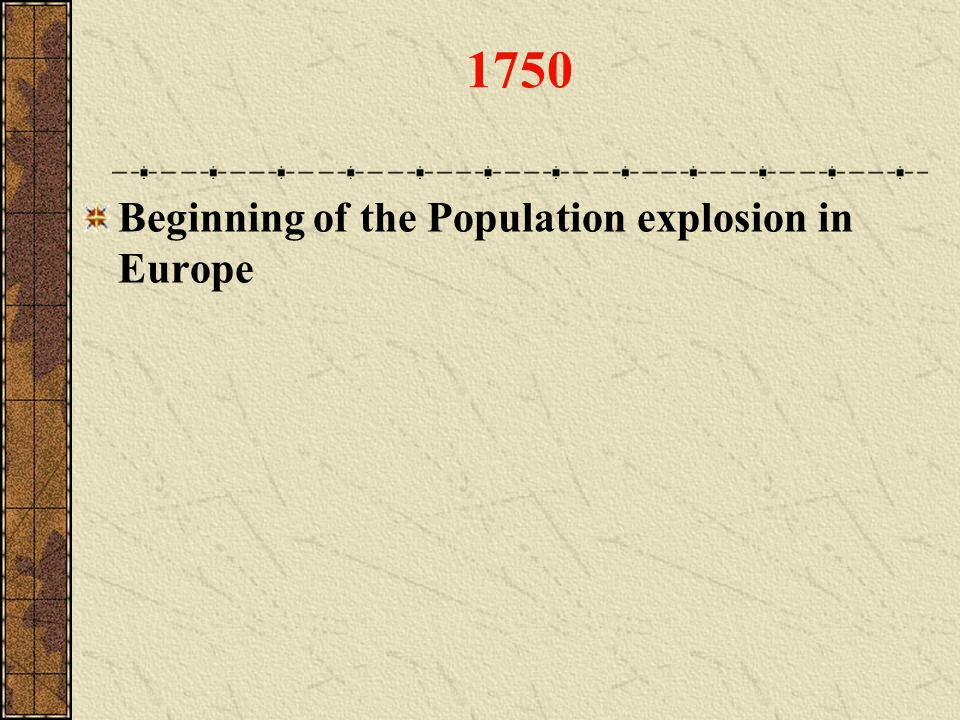 1750 Beginning of the Population explosion in Europe