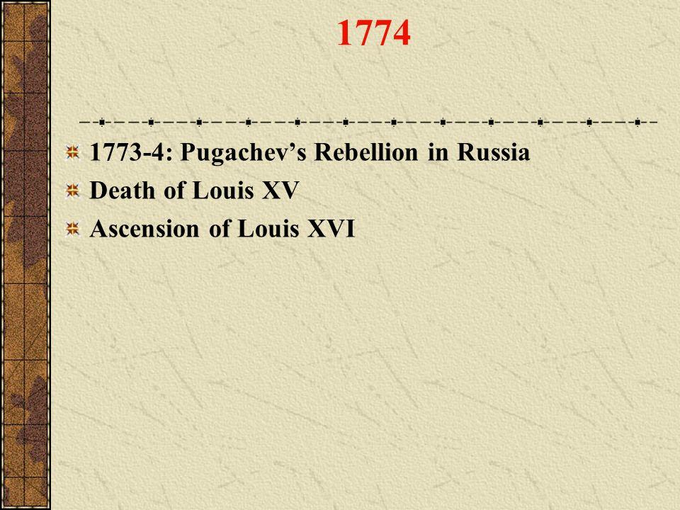 1774 1773-4: Pugachev's Rebellion in Russia Death of Louis XV