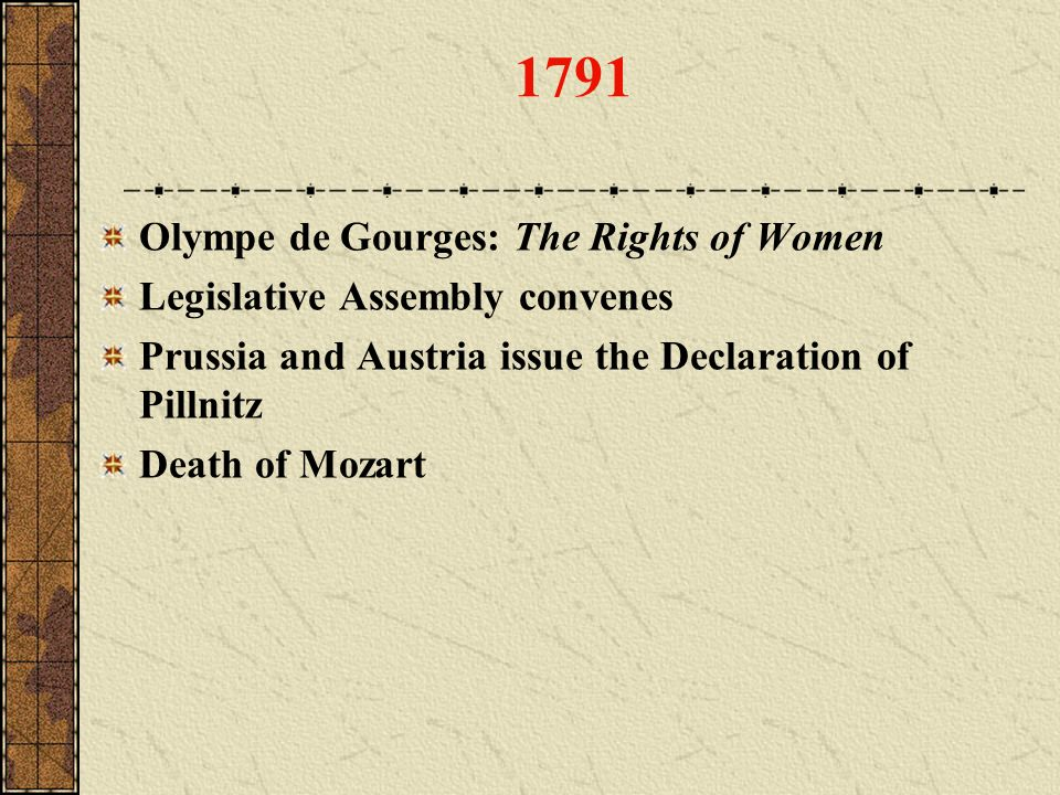 1791 Olympe de Gourges: The Rights of Women