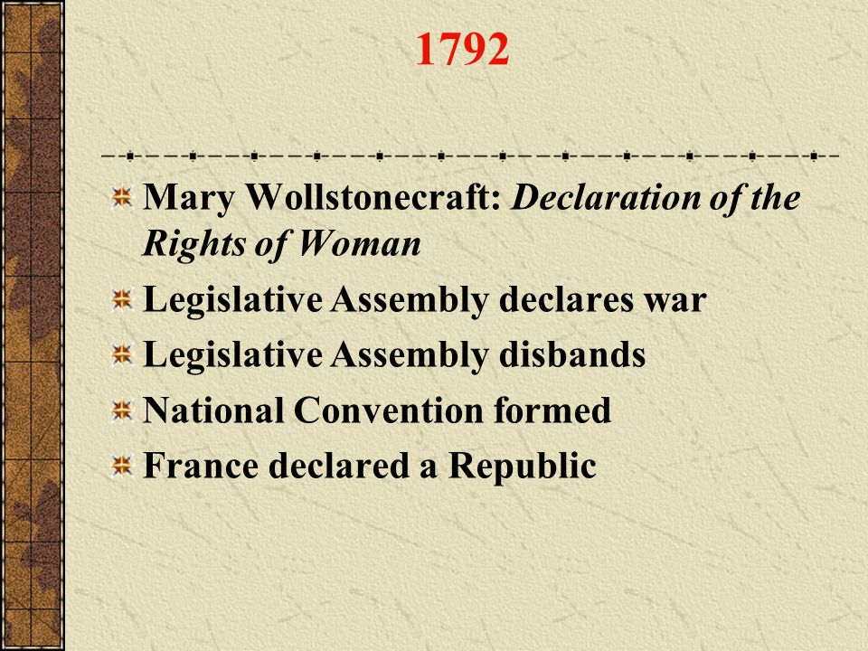 1792 Mary Wollstonecraft: Declaration of the Rights of Woman
