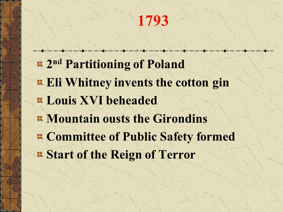 1793 2nd Partitioning of Poland Eli Whitney invents the cotton gin