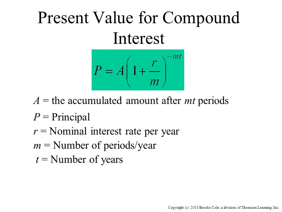 Present Value for Compound Interest