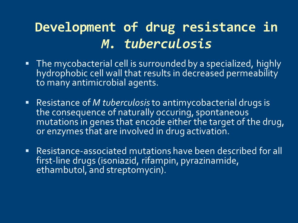 Development of drug resistance in M. tuberculosis