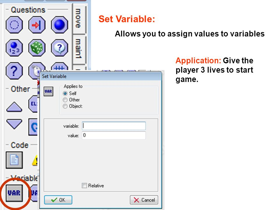 Set Variable: Allows you to assign values to variables