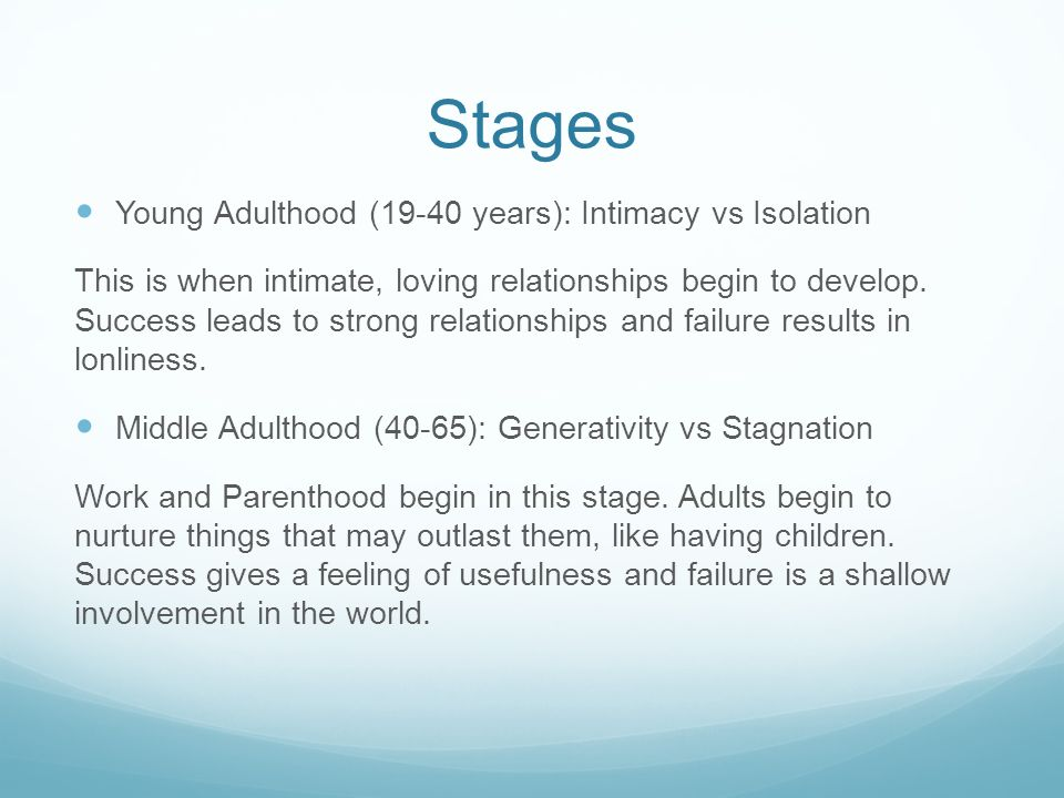 Stages Young Adulthood (19-40 years): Intimacy vs Isolation