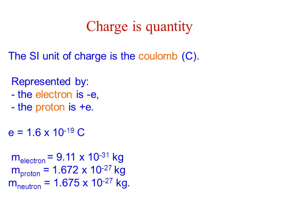 Charge is quantity The SI unit of charge is the coulomb (C).