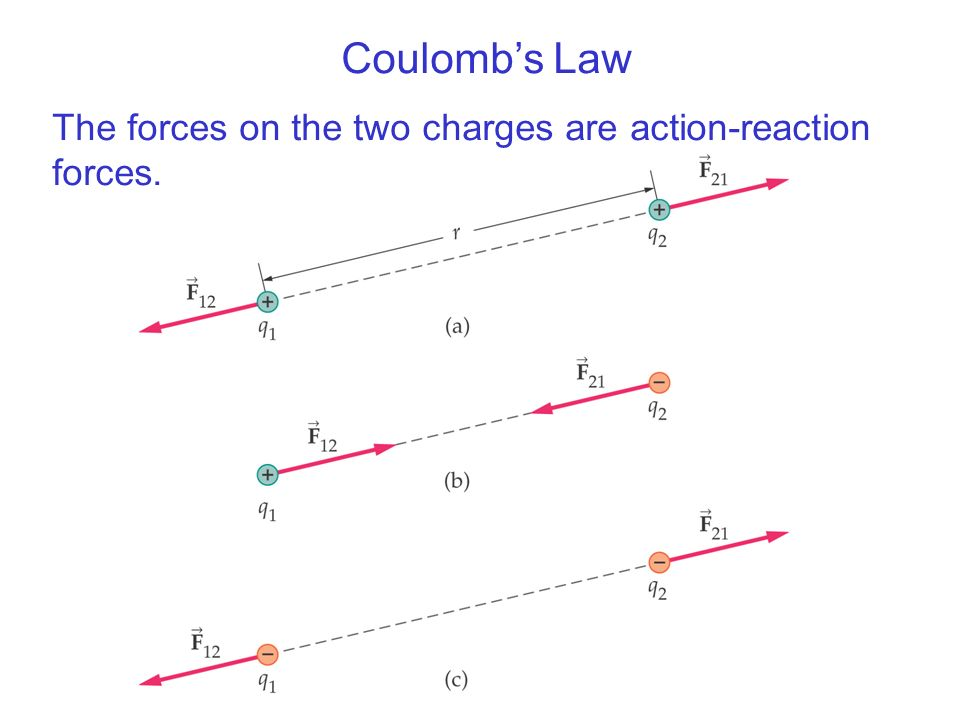 Coulomb's Law The forces on the two charges are action-reaction forces.