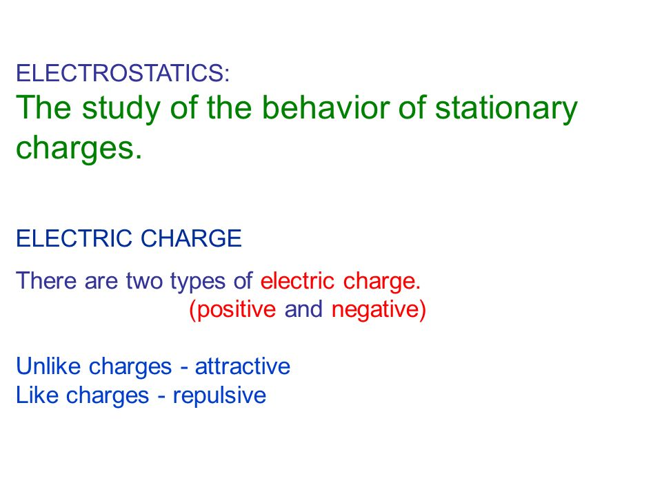 The study of the behavior of stationary charges.