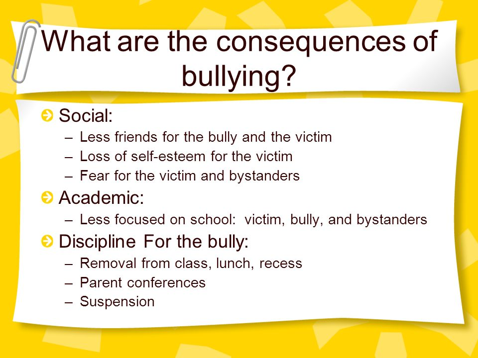 effects of bullying Effects of bullying somehow, people think bullying is a part of life, a part of growing up and an opportunity to stand up for yourself some kids naturally will not accept being bullied, and.