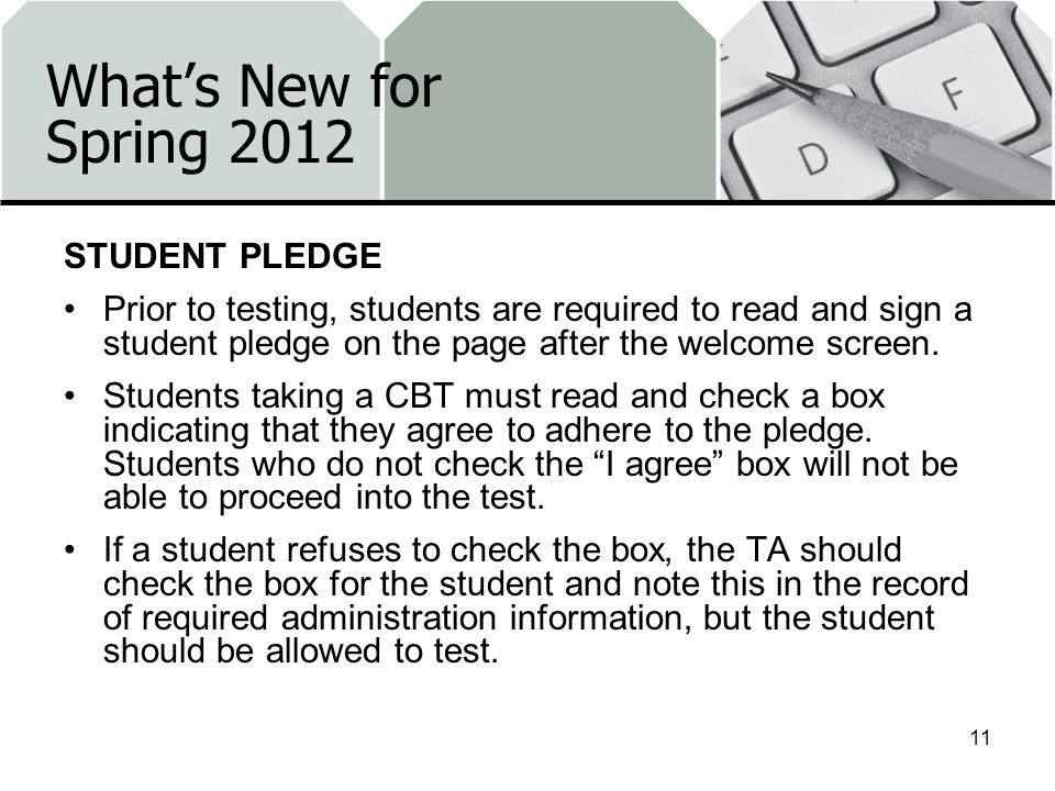 What's New for Spring 2012 STUDENT PLEDGE